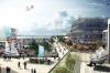 Soling Platz flankeret af Sailing Campus, Hotellet og Olympic Village. Illustration: Tegnestuen Schulze+Grassov.