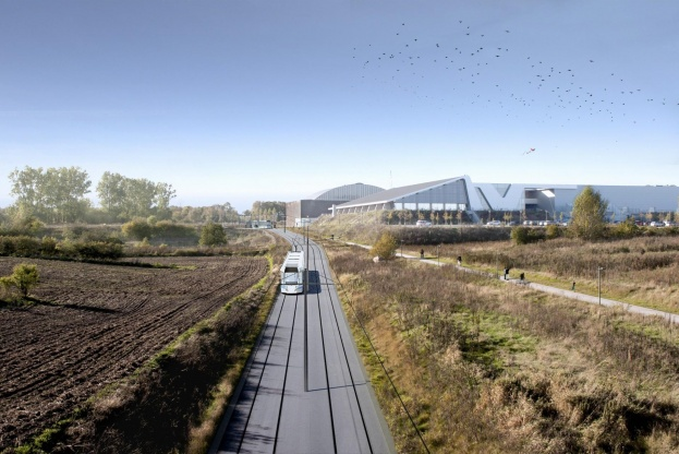 I Aalborg vil man ikke acceptere, at staten har droppet et milliontilskud til etableringen af en letbane. Visualisering: Henning Larsen Architects.