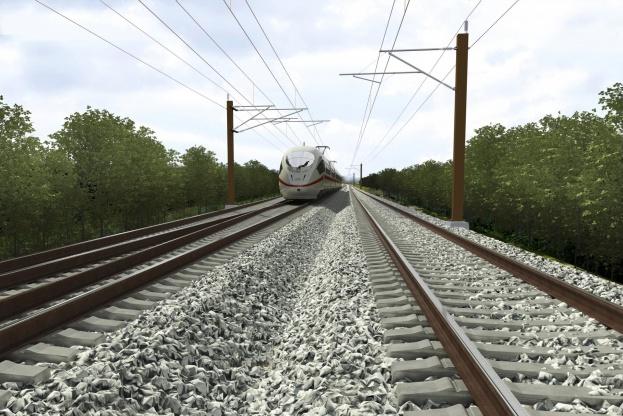 Elektrificering med køreledninger er en gigantisk fejltagelse, mener fremtidsforsker Uffe Palludan. Visualisering: Aarsleff-Siemens.