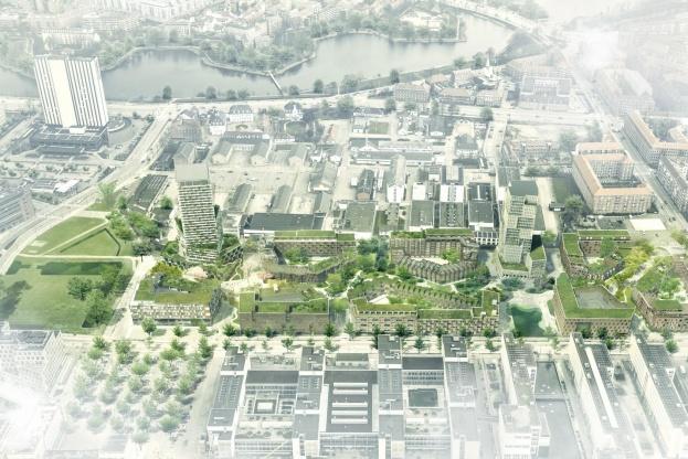 Masterplanen for Bryggens Bastion omfatter samlet 125.000 kvm med op til 75 procent boligareal, svarende til ca. 1.000 boliger. De resterende 25 procent skal være erhverv. Illustration: Arkitema Architects, Entasis og Tredje Natur.