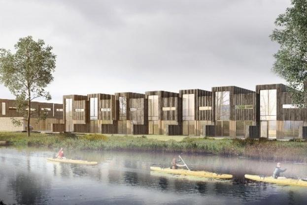 De kommende beboere i Skudehavnen kommer til at bo i huse opført i tegl og med træbeklædning. Illustration: KPF Arkitekter.