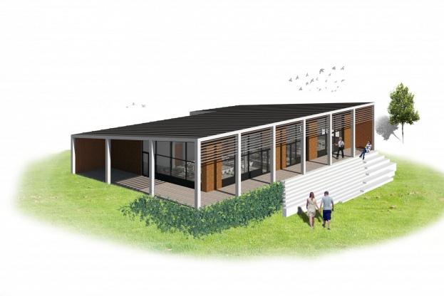 Der skal i forbindelse med renoveringen opføres et fælleshus på ca. 330 kvadratmeter. Visualisering: C & W Arkitekter A/S.