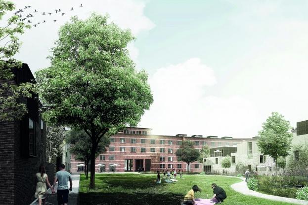 Vandkunsten og Sleth skal stå for udviklingen af Amtssygehuset til en ny bydel. Visualisering: Vandkunsten.