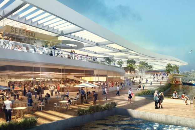 3XN har vundet konkurrencen om at designe det nye Sydney Fish Market på spidsen af Blackwattle Bay i Sydney. Illustration: 3XN.