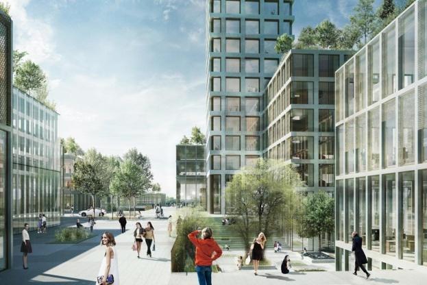 Planerne indeholder butikker, kontorer, hotel - og et højhus på mere end 200 meter. Visualisering: Bestseller.