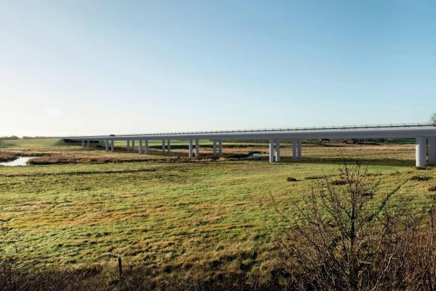 Arbejdet med Holstebromotorvejen er foran tidsplanen. Pressefoto.
