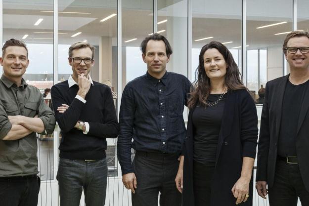 De fem partnere i CCO; Mikkel H. Sørensen, Michael W. Larsen, Thomas Nørgaard, Vibeke L. Lindblad og Michael Christensen. Foto: Stamers Kontor.