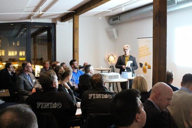 Partner i Arkitekterne Køge, Claus Boelsmand, informerede om nye projekter på tegnebrættet. Pressefoto.