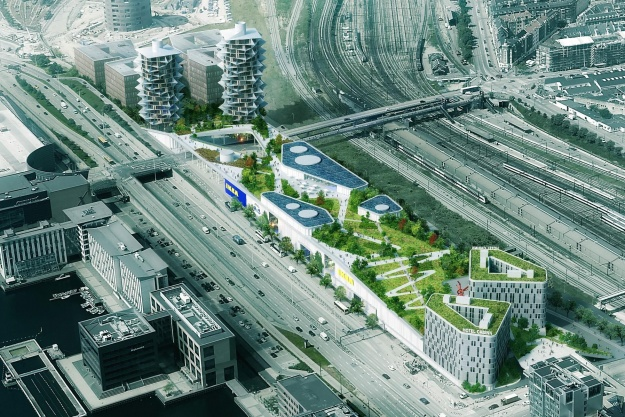 Dorte Mandrup skaber bypark oven på Ikea-varehus