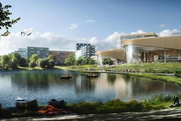 Projektet opføres i træ og har et budget på cirka 600 millioner kroner. Illustration: 3XN.
