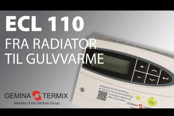 Ændr ECL 110 fra radiator- til gulvvarmeindstillinger