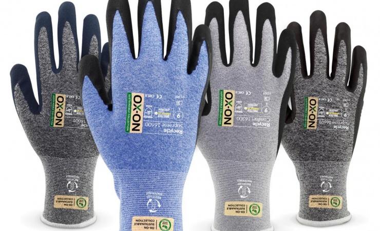 Bæredygtige arbejdshandsker lavet af plastikflasker
