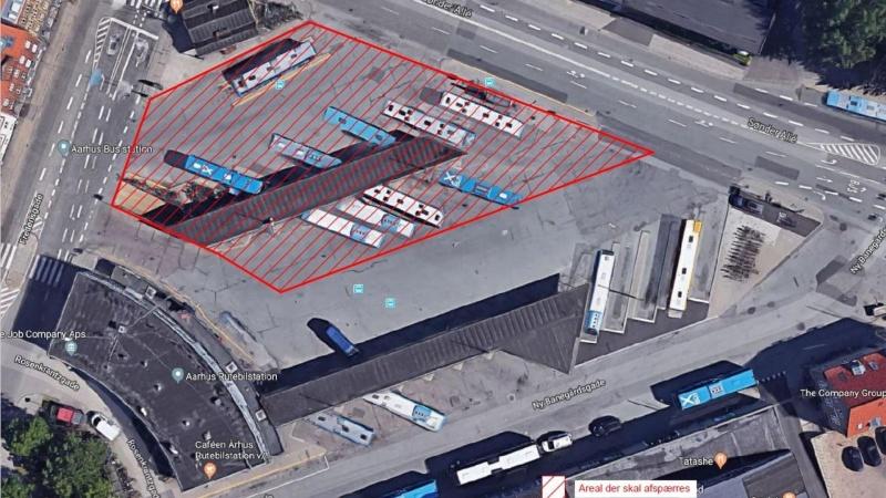 Nedstyrtningstruet betondæk lukker rutebilstation i Aarhus